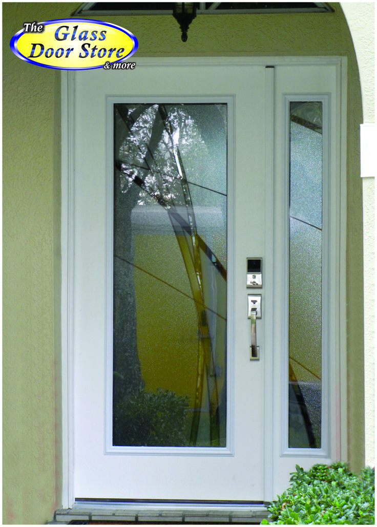 Modern front door with glass insert and sidelight very for Home depot front door window inserts
