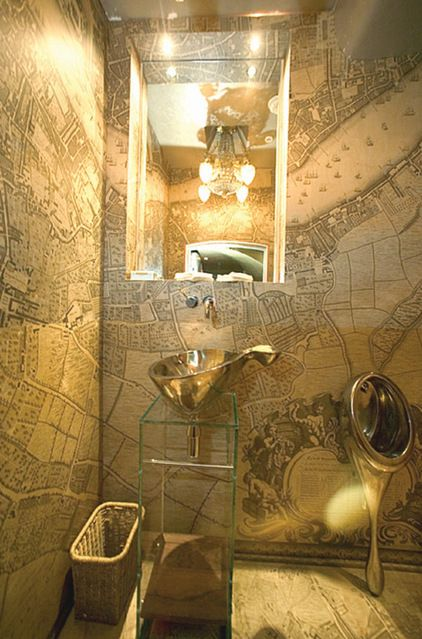 this urinal is ... dare I say beautiful eclectic powder room by Louise Rea
