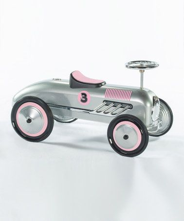 This Silver & Pink Streak Ride-On Racer is perfect! #zulilyfinds