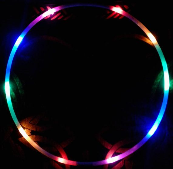 "Rainbow LED Hoop - 5/8"" hdpe - 10 Rainbow LEDs - Regular AAA Batteries"