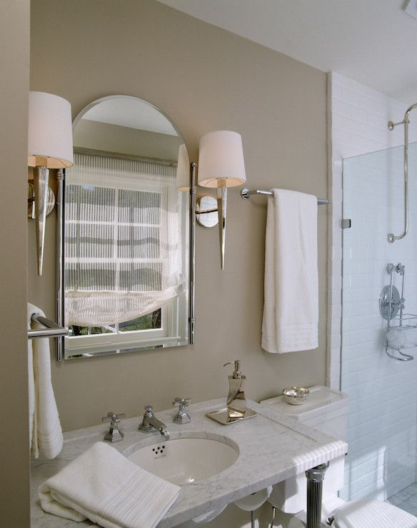 Lonny Magazine   Bathrooms   Taupe Walls, Taupe Bathroom Walls, Faceted  Mirrored Sconce,