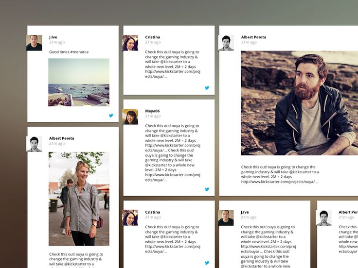 Horizontal card view of social feed