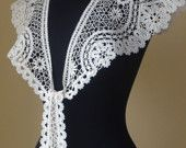 A spectacular Lace Collar is made of famous Russian tape bobbinglace technology  It measures 23,5 cm. breadth in widest side  1 m. 50 cm. long    Light beg linen, silver thread, white crochet thread    Suitable all size    Handwowash or dry clean. Handles fine washing machine on wool programm  Iron with a towel over      Lace of me and Ready to ship