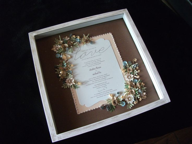A Custom White Distressed Shadowbox Frames This Paper Quilled Wedding Keepsake