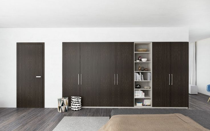 vstavana skrina HANAK na mieru, vyrazne cesana dyha dub arabica, ukazka INTERIOR CONCEPT HANAK - totozny dizajn skrine s interierovymi dverami