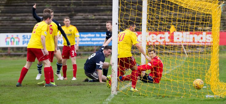 Queen's Park's Thomas Orr scores during the SPFL League One game between Albion Rovers and Queen's Park.