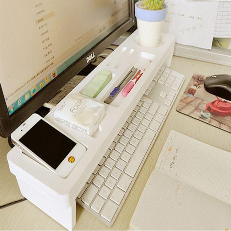 Стол срок хранения офисные рабочего Организатор Телефон для хранения клавиатуры полки ручки Deskstop Организатор Полки купить на AliExpress