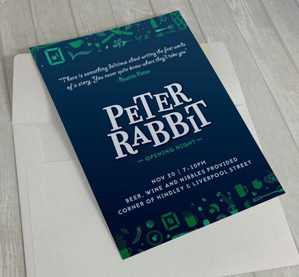 Invitation and Logo Design for new Adelaide Garden Cafe, Peter Rabbit
