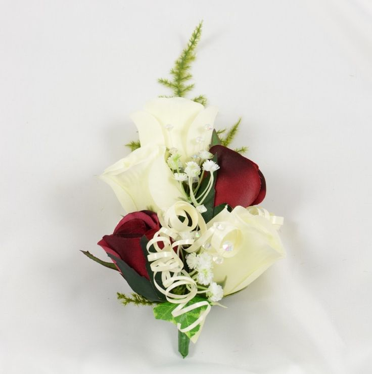 Burgundy Amp Ivory Rose Wrist Corsage With Crystals Ivy And