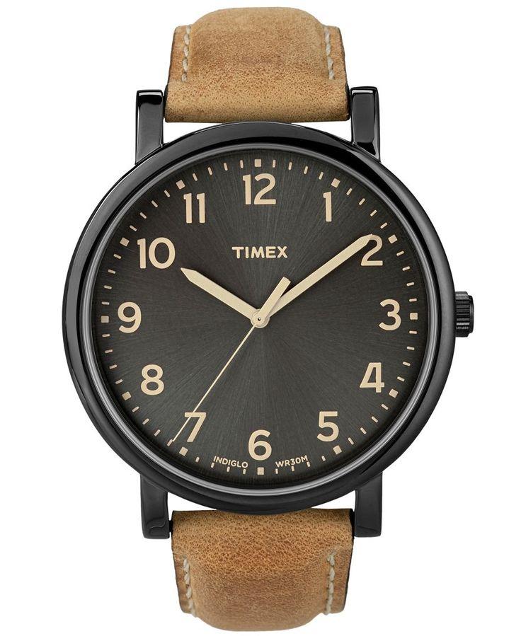 Timex Watch, Men's Premium Originals Classic Tan Leather Strap 42mm T2N677AB