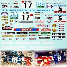 Renault 5 turbo Esso 1981 Rallye Monte Carlo #17 + TDC #5 1:24 Decal Abziehbild