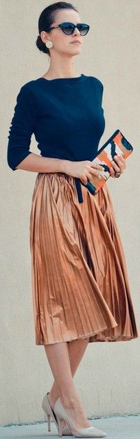 Navy Top, Pleated Copper Skirt & Mixed Print Clutch.