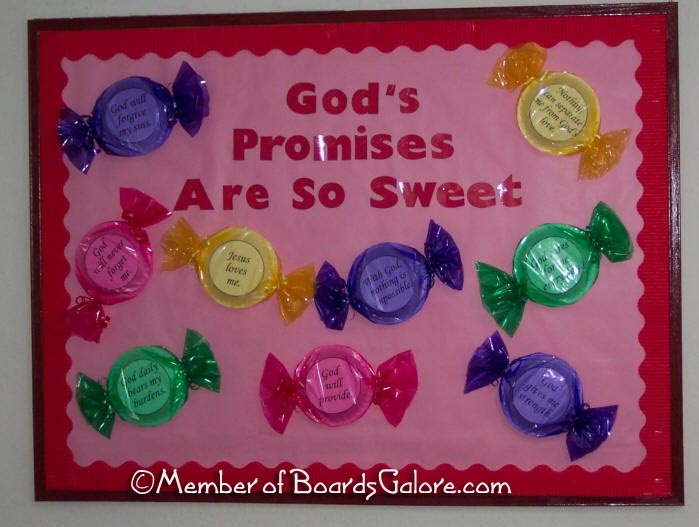 God's Promises are so Sweet Bulletin Board  - maybe for Valentines Day: Schools Bulletin Boards, Children Church, Church Bulletin Boards, Sunday Schools, God Promise, Valentines Day, Christian Bulletin Boards, Boards Ideas, So Sweet