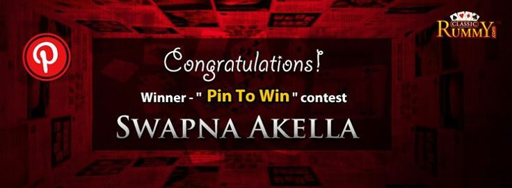 """Congratulations """" Swapna Akella """" - You are our """"Pin To Win"""" Contest Winner!!!  You have won Rs. 100/- #cash free...  Thanks for participating and keep checking for more contests and promos.  To know more about the offer check the link below: https://www.classicrummy.com/social-rummy-games-online?link_name=CR-12"""