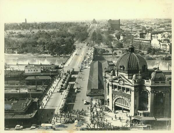 St Kilda Road past Flinders St station and Princes bridge, circa 1940s, Melbourne