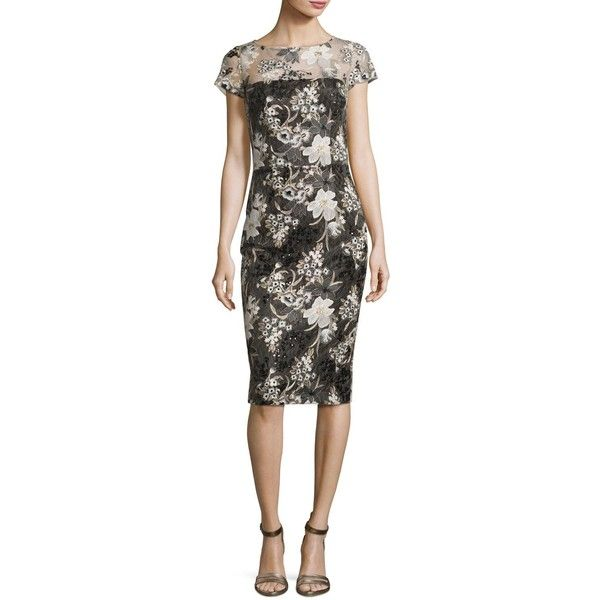 David Meister Short-Sleeve Floral Mesh Sheath Dress (240 CAD) ❤ liked on Polyvore featuring dresses, multi, strapless dresses, flower printed dress, floral embroidered dress, floral day dress and mesh dress