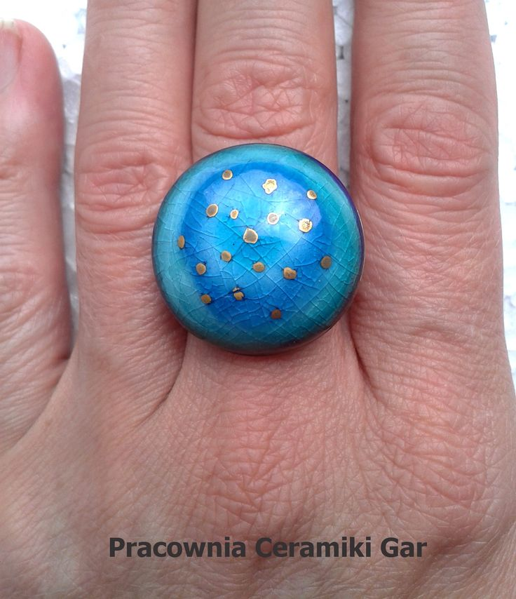 blue- turquoise ring , ceramic ring , #gold, #handmadeartjewerely, art ceramic