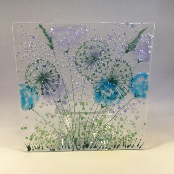 Floral Glass Plaque Candle Display Turquoise Lilac Flowers