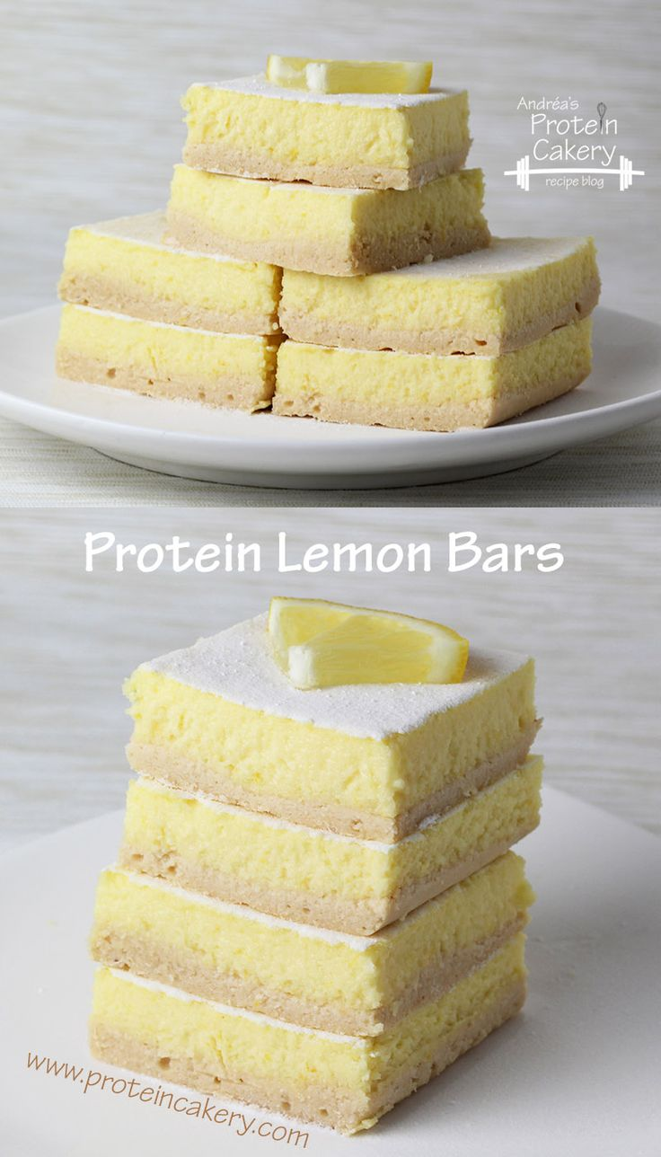 Protein Lemon Bars -- Prot: 7 g, Carbs: 6 g, Fat: 7 g, Cal: 109