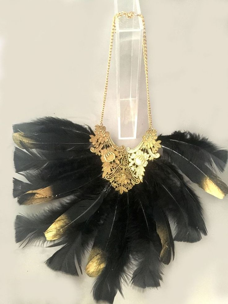 Choker Large Feather Collar Black Gold Tribal Steam Punk Cosplay Gothic Festival #SouthernSandStarAustralia #FestivalChokerCollar