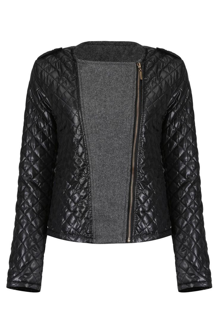 Quilted Biker Jacket with Knit Panels - US$29.95 -YOINS