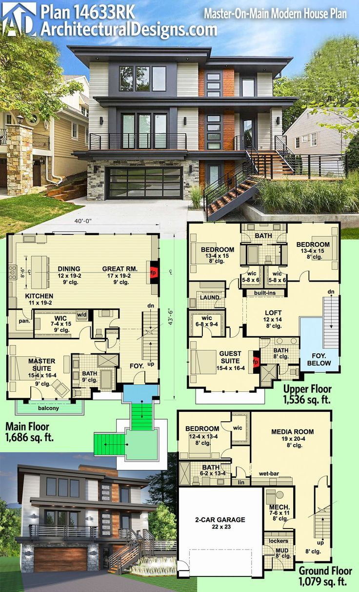 modern house plans architectural designs modern house plan 14633rk rh pinterest com