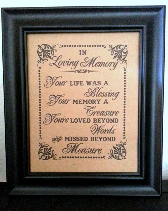 8 x 10 PRINT Loved Ones/ Remembrance / In Loving Memory - Wedding Sign - Single Sheet (Style: MISSED)