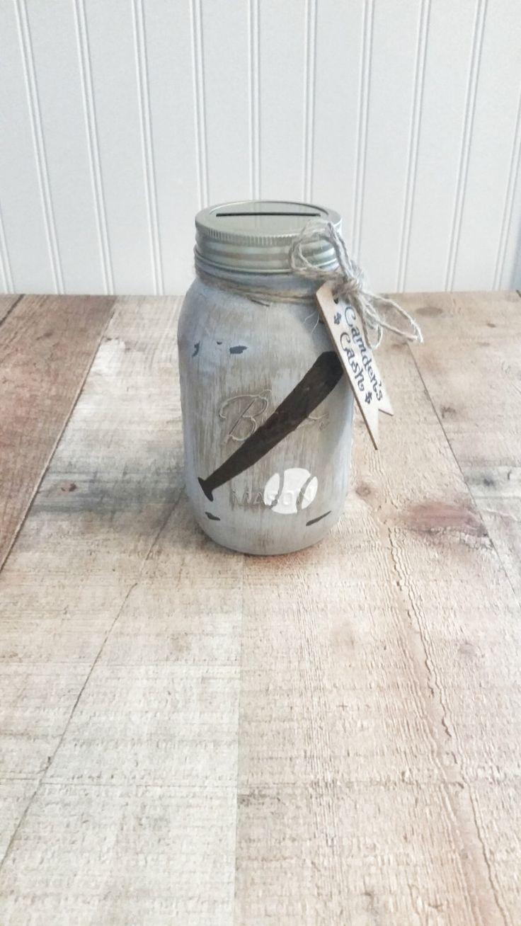 A personal favorite from my Etsy shop https://www.etsy.com/listing/479880009/rustic-baseball-mason-jar-piggy-bank