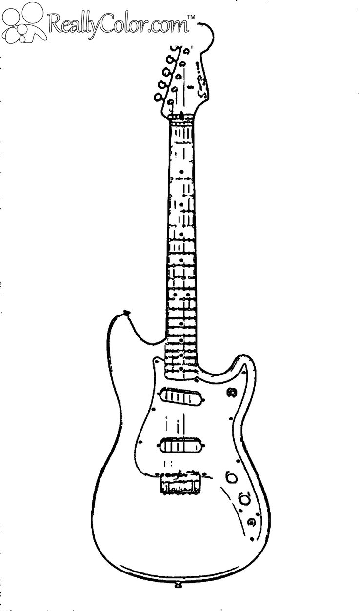Rock Guitar Coloring Page
