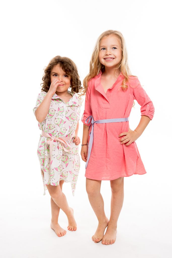 Same shirt dress tailored in soft textures and designed in warm colors and funny childish prints, fashion for kids easy to wear.