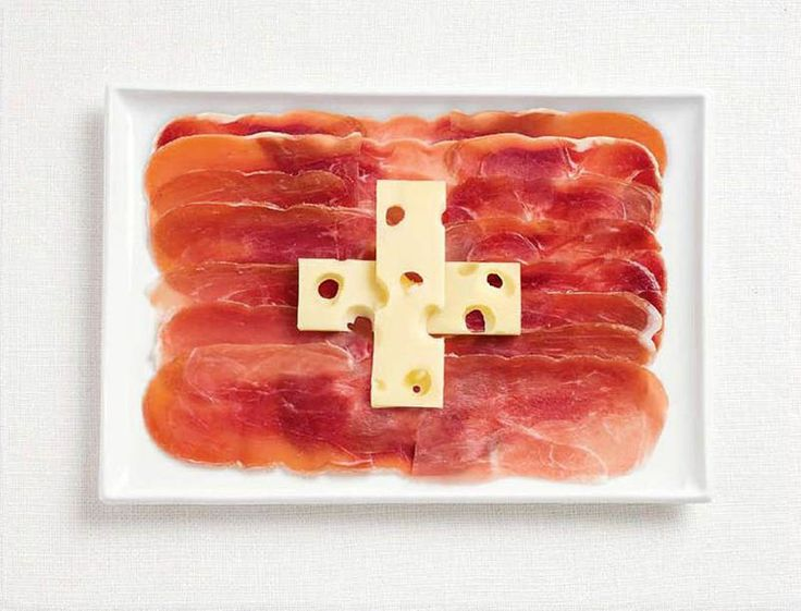 Switzerland served this dish with Meat and swiss cheese to resemble like flag.