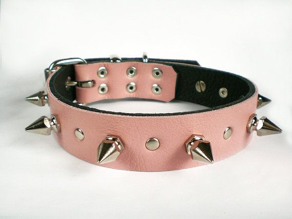 1 Soft Baby Pink Leather Spiked Dog Collar with by NaosLeathers