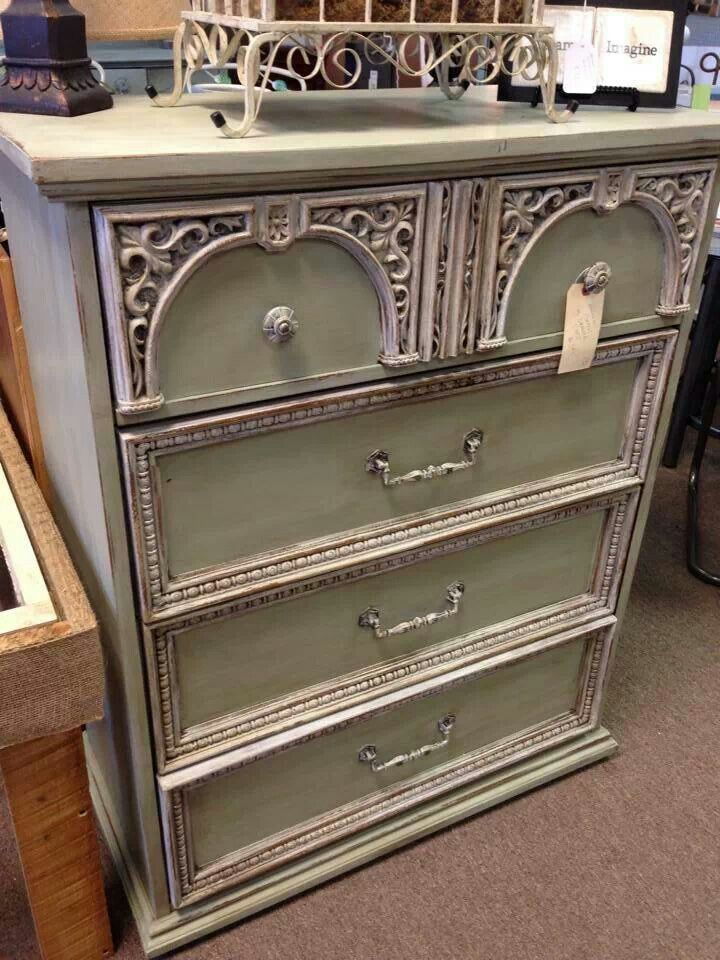 Beautiful chest of drawers painted with Willow Green and Creamy Linen Farmhouse Paint.   Farmhousepaint. Com