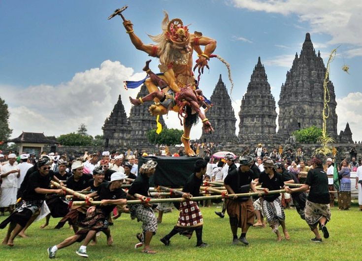 Bali!    Hindu devotees carry an effigy locally called 'Ogoh-ogoh' a demonic representation, ahead of the Silent Day or Nyepi in Klaten, Central Java The Silent Day is the Hindu new year, a day to contemplate and cleanse the mind and body.