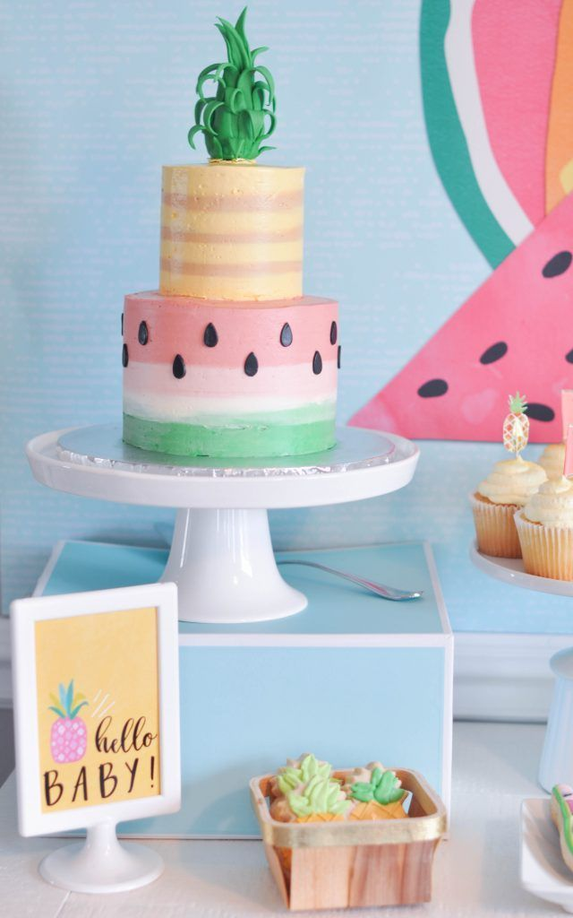 Pineapple and watermelon baby shower cake.