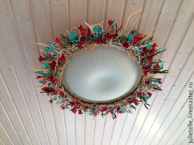 Купить Летний декор - бирюзовый, красный, декор светильников, декор потолка, летнее украшение