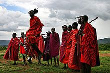 "Maasai people - Eunoto, the coming of age ceremony of the warrior, can involve ten or more days of singing, dancing and ritual. The warriors of the Il-Oodokilani perform a kind of march-past as well as the adumu, or aigus, sometimes referred as ""the jumping dance"" by non-Maasai."