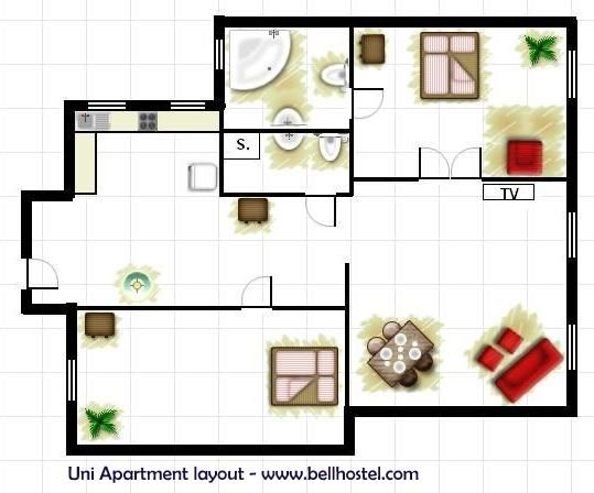 Uni Apartment Layout - www.bellhostel.com