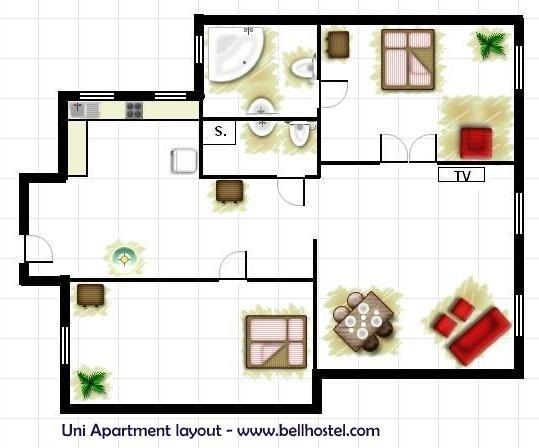 Uni Apartment Layout - www.bellhostel.com
