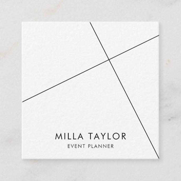 Simple Minimalistic Modern Black & White Geometric Square Business Card | Zazzle.com