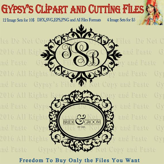 Monogram Templates, Wedding, Address Templates, Inital, Save the Date, Clipart, Vector, Cutting file, Pattern, png, svg,ai,eps, dxf by gypsysclipart. Explore more products on http://gypsysclipart.etsy.com