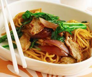 Pork and gai lan stir-fry