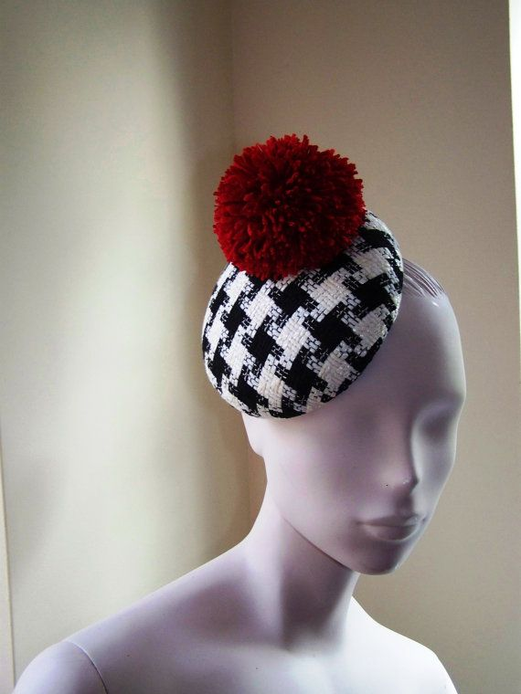 Cocktail Hat Fascinator Black and White by MindYourBonce on Etsy