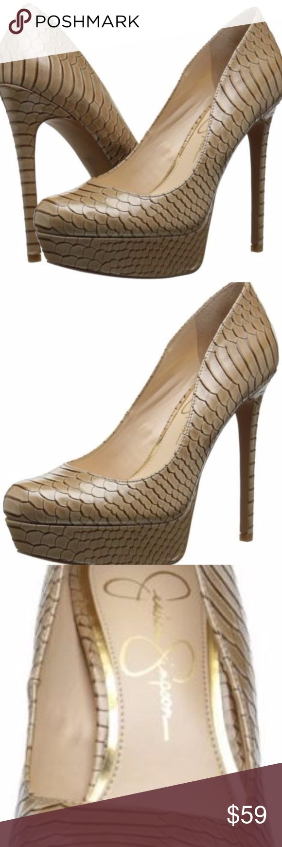 Jessica-Simpson-Women-Heels-Pump-Snake-Skin-Nude- Condition: New with box: A brand-new, unused, and unworn item  Brand: Jessica Simpson Occasion:FormalStyle:Pumps, Classics Heel Type:StilettoUS Shoe Size (Women's):8.5 and 9 Heel Height:High (3 in. and Up)Width:Medium (B, M) Material:SnakeskinColor: Nude Pattern:Snakeskin Jessica Simpson Shoes