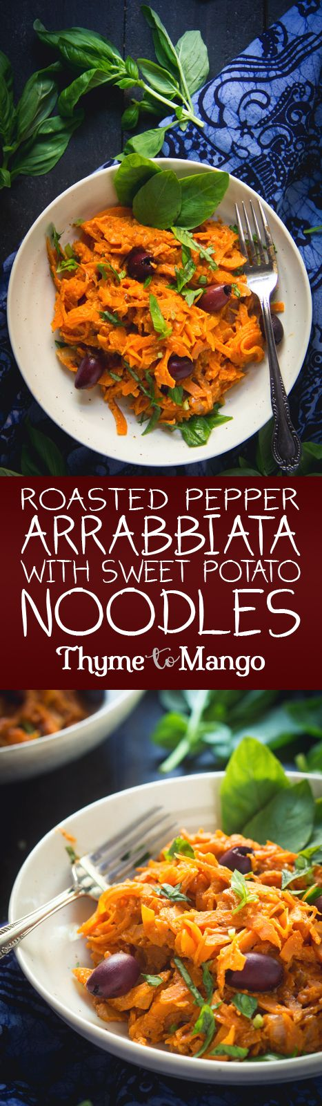 Time to raise your spiralizing game with these sweet potato noodles, drowned in a roasted red pepper arrabbiata sauce - quick, easy and delicious!