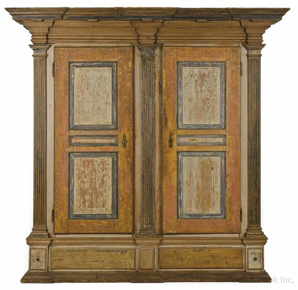 Realized Price: $102000 Lancaster County, Pennsylvania Painted Hard Pine  Schrank, Ca. 1780