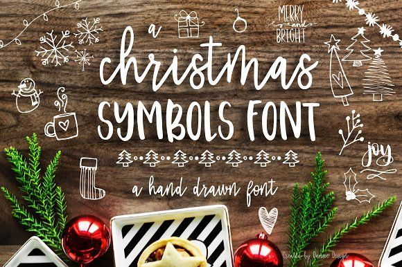 Christmas Symbols Font Christmas Fonts Doodle Fonts Hand Lettered Christmas