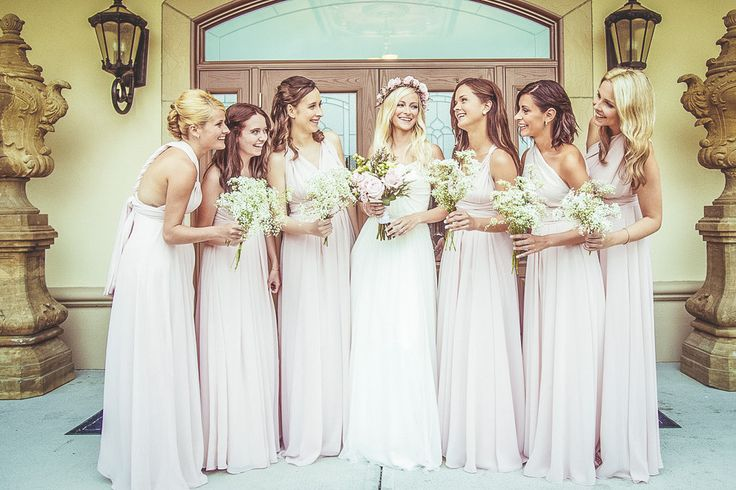 Pink Bridesmaid Dresses - Hayley Paige Wedding Dress For A Pastel Themed Wedding With Rose Flower Crown At Le Vignoble Carpinteri Quebec With Bridesmaids In Dusky Pink And Images By Camille Marciano