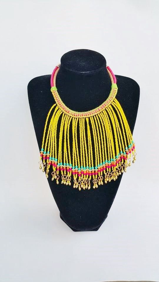 yellow bib necklace  handmade necklaces tribal by TresJoliePT