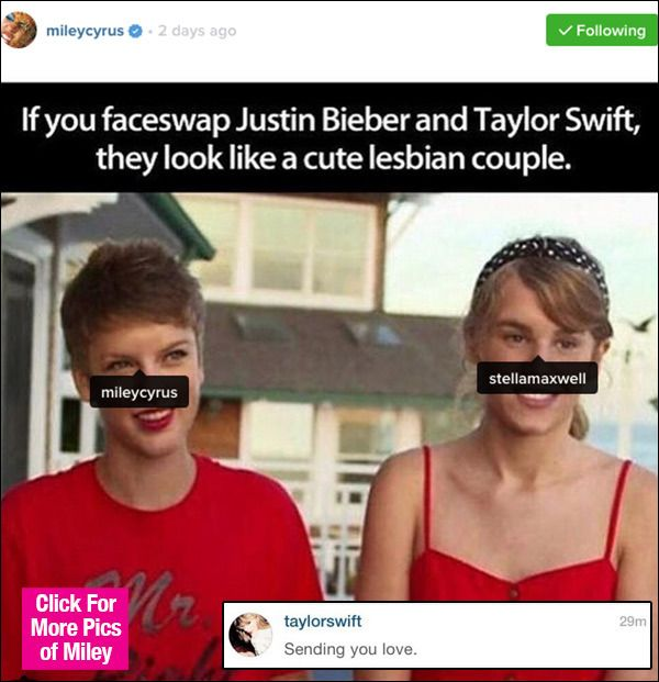 Miley Cyrus Dissing Taylor Swift? Fans Explode Over Their Strange Instagram Convo
